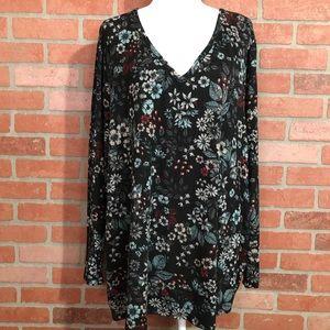 Lane Bryant Black Floral Print Knit LS Top - 26/28